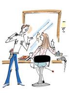 ヘアサロンの美容師と客