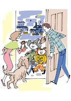 カップルと犬とハロウィンの子供 02514000057| 写真素材・ストックフォト・画像・イラスト素材|アマナイメージズ