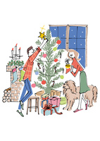 カップルと犬とクリスマスツリー 02514000058| 写真素材・ストックフォト・画像・イラスト素材|アマナイメージズ