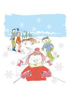 スキーするファミリー 02514000060| 写真素材・ストックフォト・画像・イラスト素材|アマナイメージズ