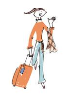 スーツケースと女性 02514000064| 写真素材・ストックフォト・画像・イラスト素材|アマナイメージズ