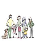 三世代家族と犬
