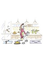 キッチンでお茶を入れる女性