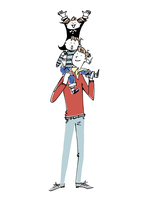 子供を肩車する男性