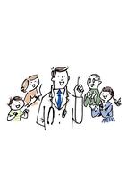 医師の説明を聞く家族 02514000097| 写真素材・ストックフォト・画像・イラスト素材|アマナイメージズ