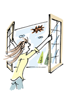 窓を開ける女性 02514000125| 写真素材・ストックフォト・画像・イラスト素材|アマナイメージズ