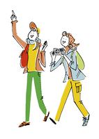 観光する女性2人