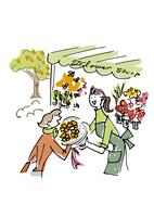 フラワーショップで花を買う女性