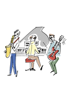 楽器を演奏するシニア男性
