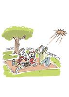 芝生の上でお弁当を食べる家族 02514000149| 写真素材・ストックフォト・画像・イラスト素材|アマナイメージズ