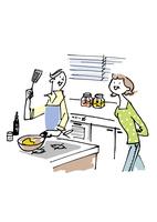 料理するシニア男性と女性