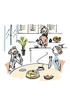 家でお茶をする女性3人