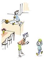 子供と遊ぶシニア女性と若い女性