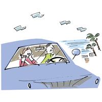 ドライブをするシニア夫婦