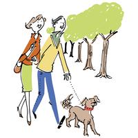 犬の散歩をするシニア夫婦 02514000174| 写真素材・ストックフォト・画像・イラスト素材|アマナイメージズ
