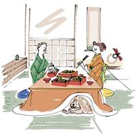 和室でおせち料理を食べる男女と犬