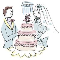 ウェディングケーキと新郎新婦 02514000184| 写真素材・ストックフォト・画像・イラスト素材|アマナイメージズ