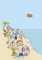 海で遊ぶ三世代家族