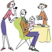 シニア夫婦と赤ちゃんと女性