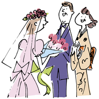 花嫁とシニア夫婦 02514000214| 写真素材・ストックフォト・画像・イラスト素材|アマナイメージズ