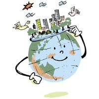 地球と平和な街 02514000216| 写真素材・ストックフォト・画像・イラスト素材|アマナイメージズ