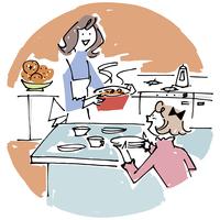 料理をする母娘 02514000220| 写真素材・ストックフォト・画像・イラスト素材|アマナイメージズ