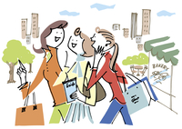 ショッピングを楽しむ女性3人