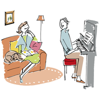 ピアノをひくシニア男性とソファでくつろぐシニア女性と犬