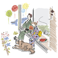 花火を見る男女と犬