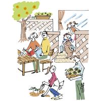 庭で楽しむ三世代家族と犬 02514000229| 写真素材・ストックフォト・画像・イラスト素材|アマナイメージズ