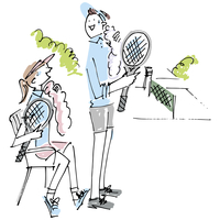テニスを楽しむ男女 02514000233| 写真素材・ストックフォト・画像・イラスト素材|アマナイメージズ