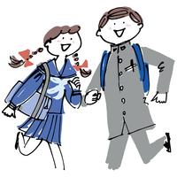 学生服の男の子と女の子 02514000244| 写真素材・ストックフォト・画像・イラスト素材|アマナイメージズ