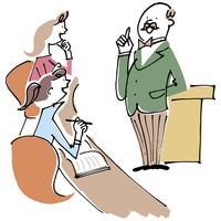 先生の講義を聞く女性2人