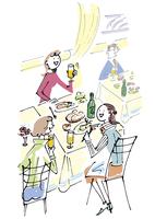外食する女性3人