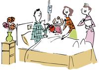 入院中の男性と見舞いの女性と子供