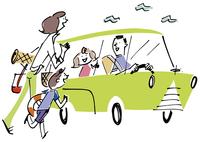 ドライブに出かける家族