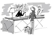 ホテルカウンターの女性客