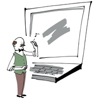 先生とパソコン 02514000299| 写真素材・ストックフォト・画像・イラスト素材|アマナイメージズ