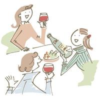 ワインを飲む女性3人