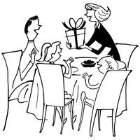 プレゼントする女性と家族