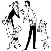 プレゼントする男性と家族
