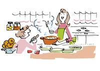 キッチンで料理する母娘