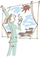 深呼吸しながら窓辺でコーヒーを飲む女性