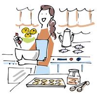 キッチンで料理をする女性