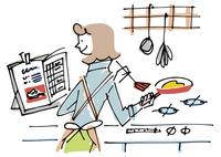 レシピを見ながら料理する女性 02514000347| 写真素材・ストックフォト・画像・イラスト素材|アマナイメージズ