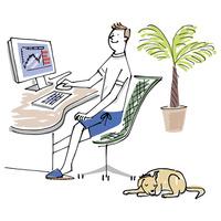 パソコンを使う男性と犬