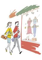ショッピングを楽しむカップル 02514000379| 写真素材・ストックフォト・画像・イラスト素材|アマナイメージズ
