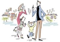 家族と街並み 02514000380| 写真素材・ストックフォト・画像・イラスト素材|アマナイメージズ