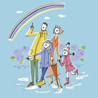 雨上がりの虹を見ている家族