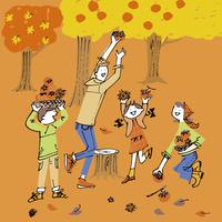 柿と栗拾いを楽しむ家族と紅葉 02514000385| 写真素材・ストックフォト・画像・イラスト素材|アマナイメージズ